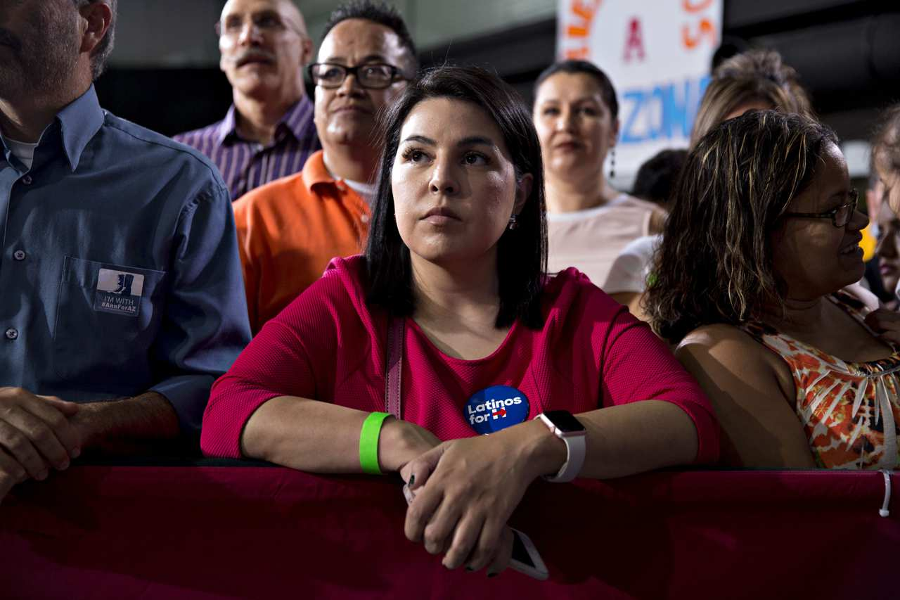 Attendees listen as Tim Kaine, 2016 Democratic vice presidential nominee, not pictured, speaks during an event conducted entirely in Spanish, a first for an organized presidential campaign event, in Phoenix on Nov. 3, 2016.<span>Daniel Acker/Bloomberg/Getty Images</span>