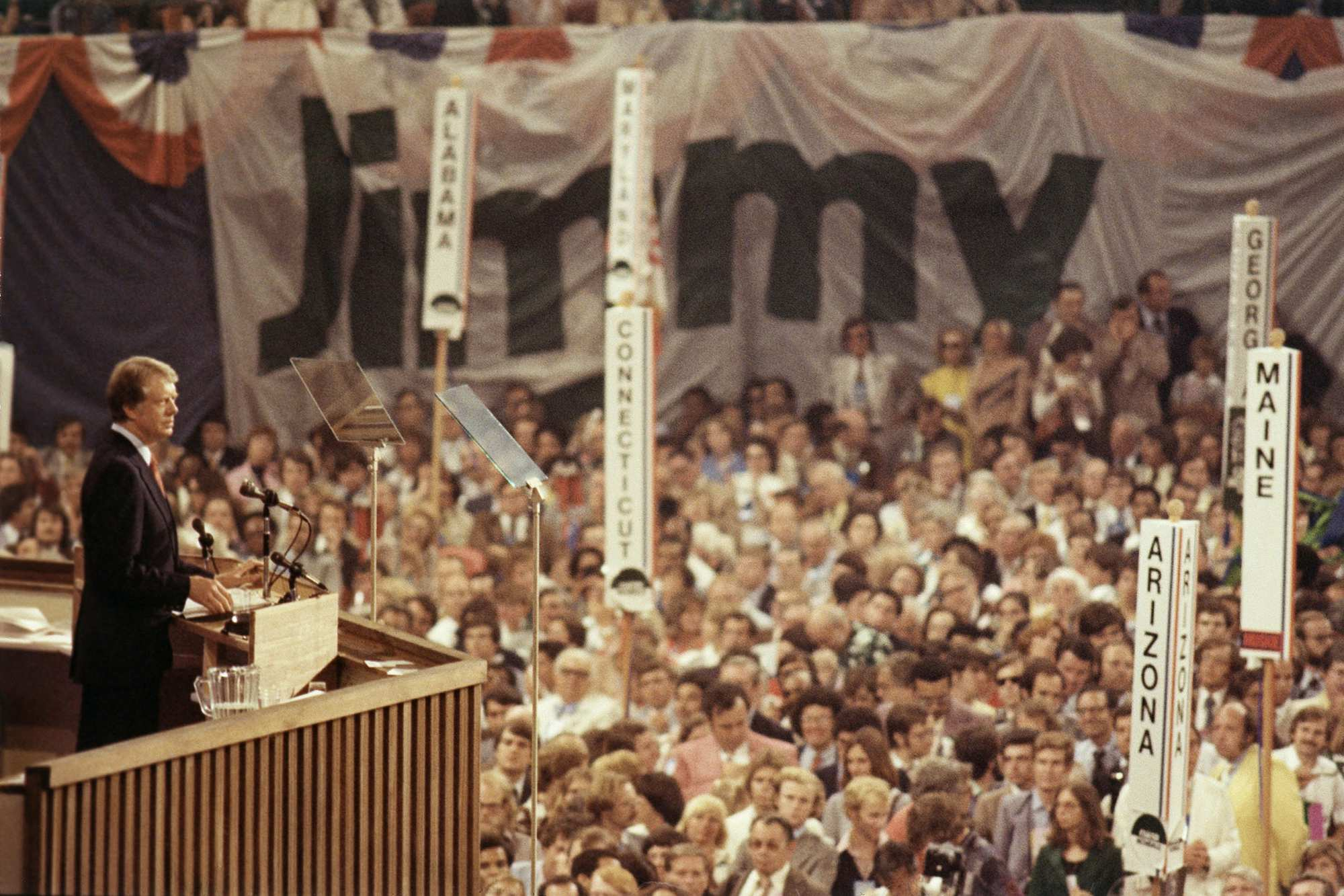 President-elect Jimmy Carter speaks to the crowd gathered on the convention floor at New York's Madison Square Garden in July 1976 after they elected him to be the candidate on the Democratic presidential ticket. | <span>AP</span>