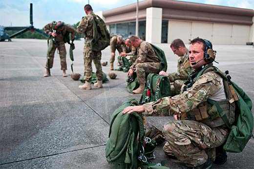 Major Jonathan Sawtelle, SOWT, prepares for a military freefall jump during training at Hurlburt Field, Fla.
