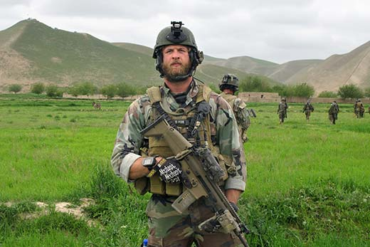 Tech Sgt. Travis Sanford, SOWT, patrols with a Marine special operations team in northwest Afghanistan.