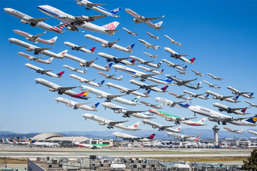 Eight hours of aircraft movement at LAX International Airport