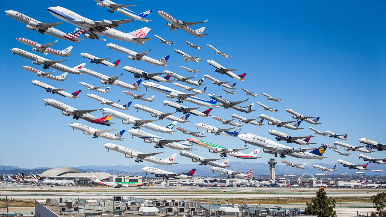 Eight hours of aircraft movement at LAX International Airport.