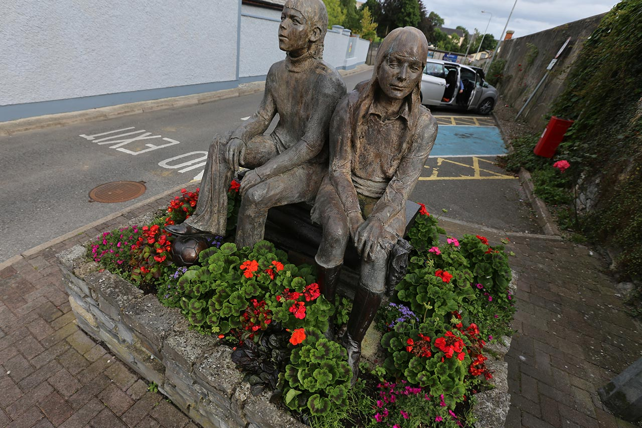 This memorial to Geraldine O'Reilly and Paddy Stanley in Belturbet, Ireland, is mere feet from the site of deadly 1972 blast.