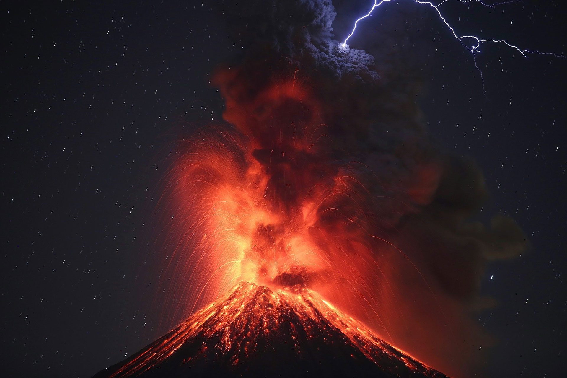 The Colima Volcano erupts on Jan. 26 in Mexico