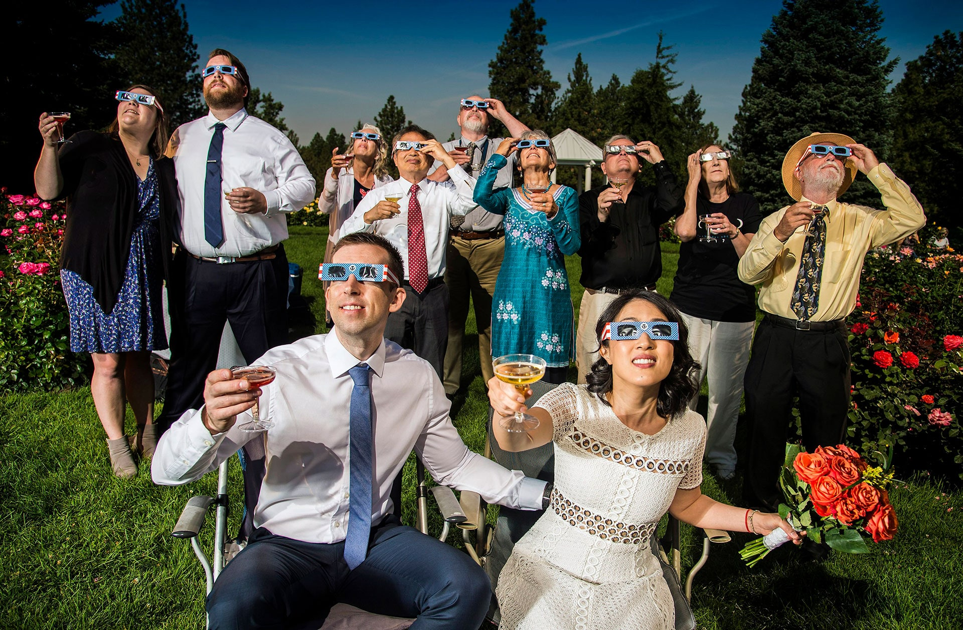 Family and friends, toast the solar eclipse