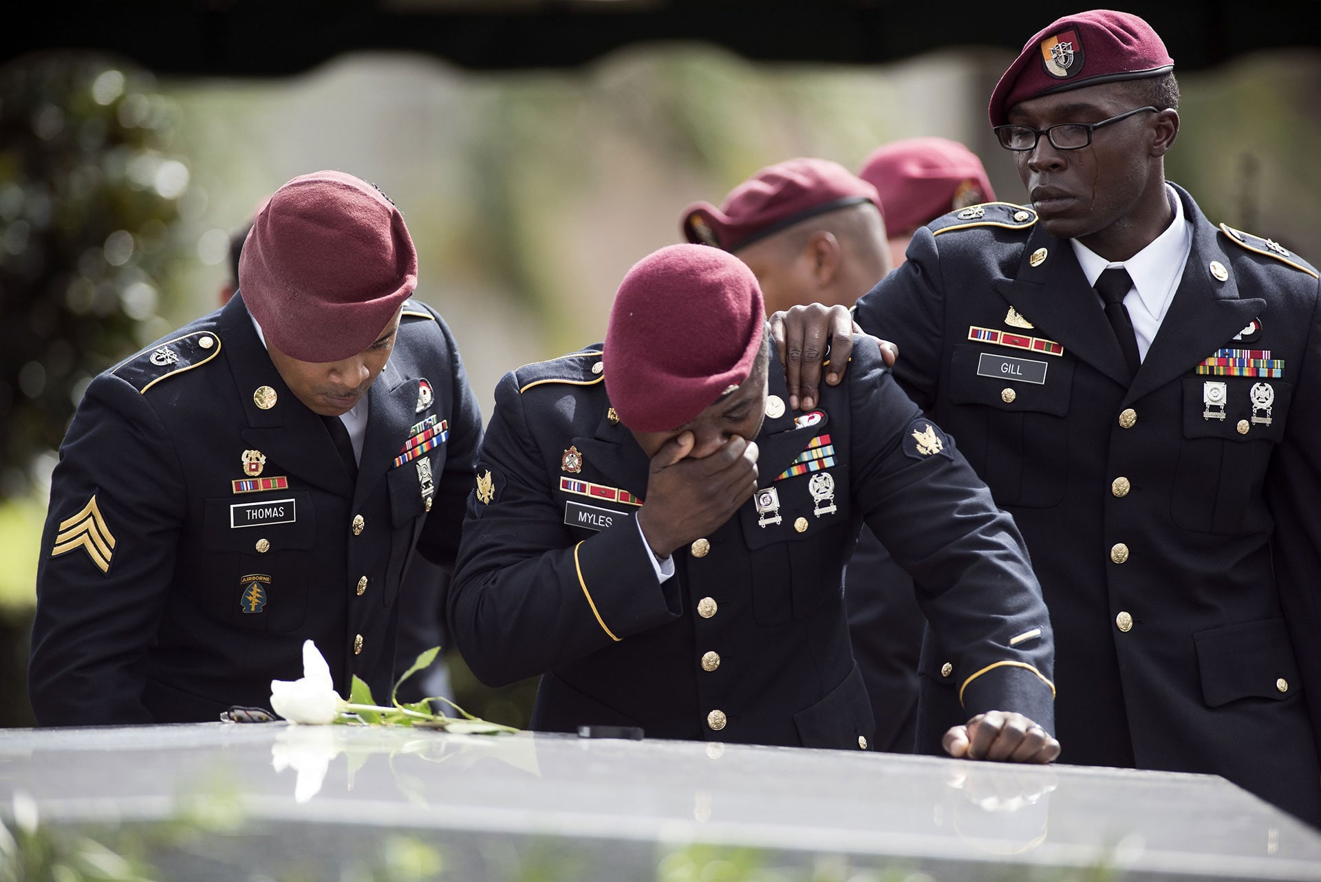 Members of the 3rd Special Forces Group, 2nd battalion, at the burial service