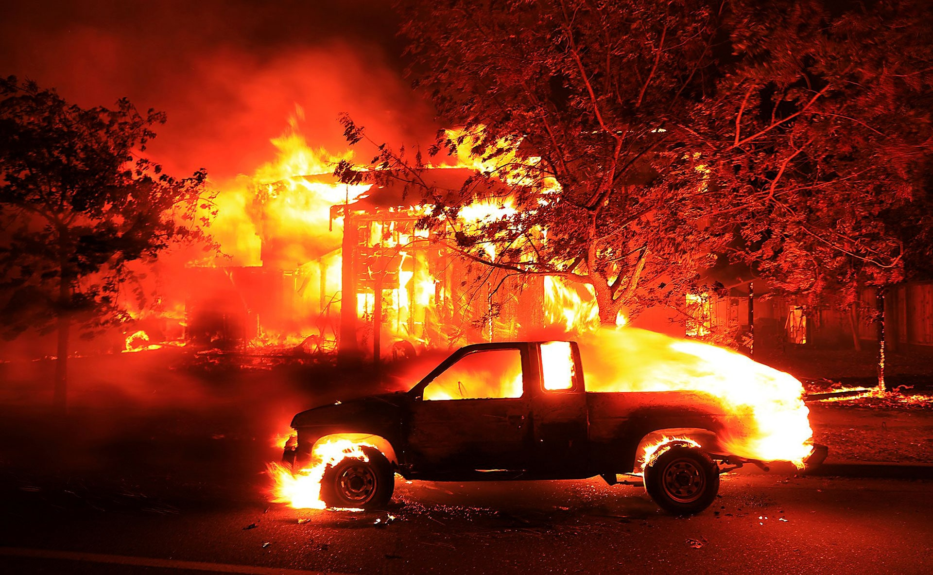 A Coffey Park home burns in Santa Rosa, California