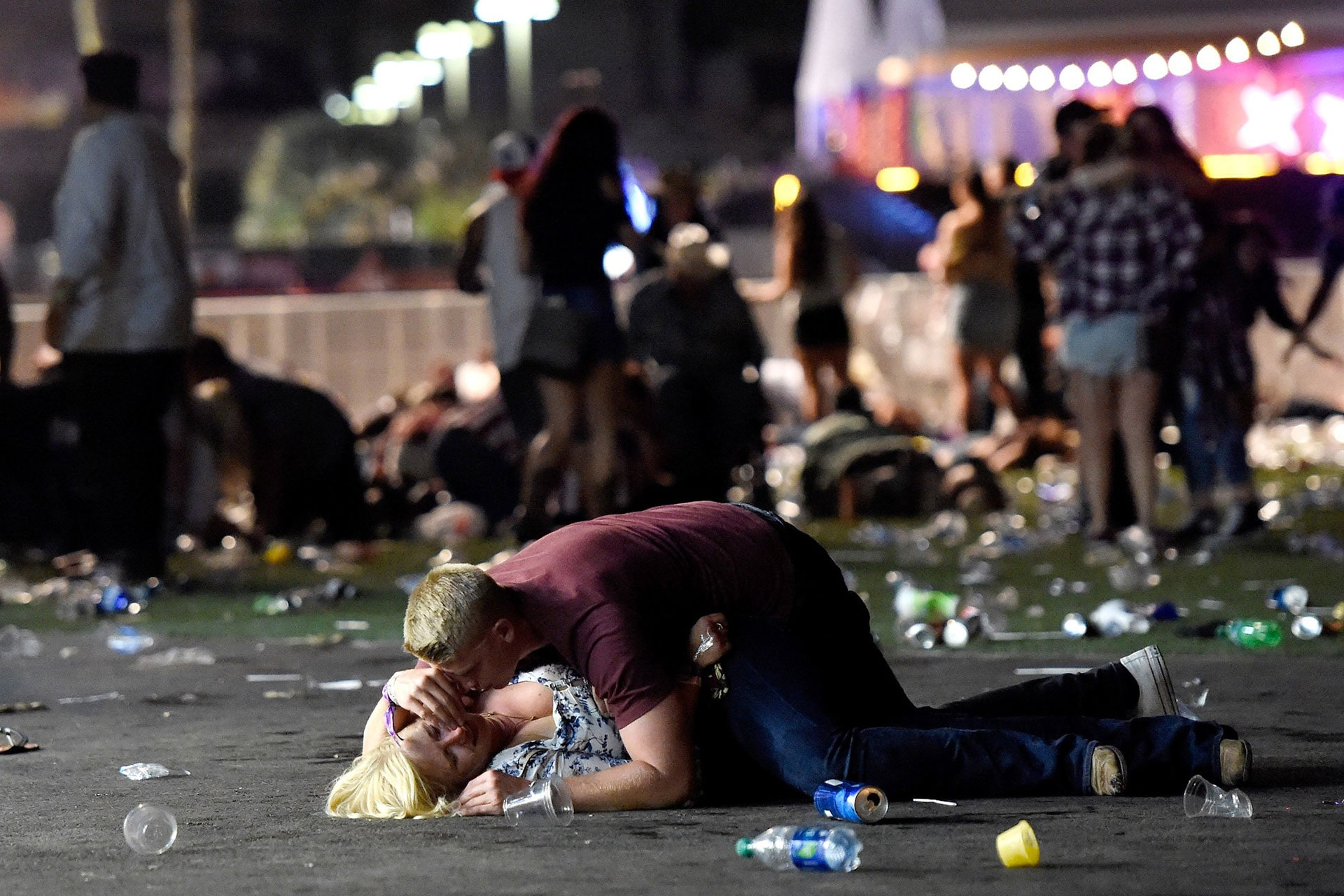 A man shields a woman during a mass shooting at the Route 91 Harvest country music festival