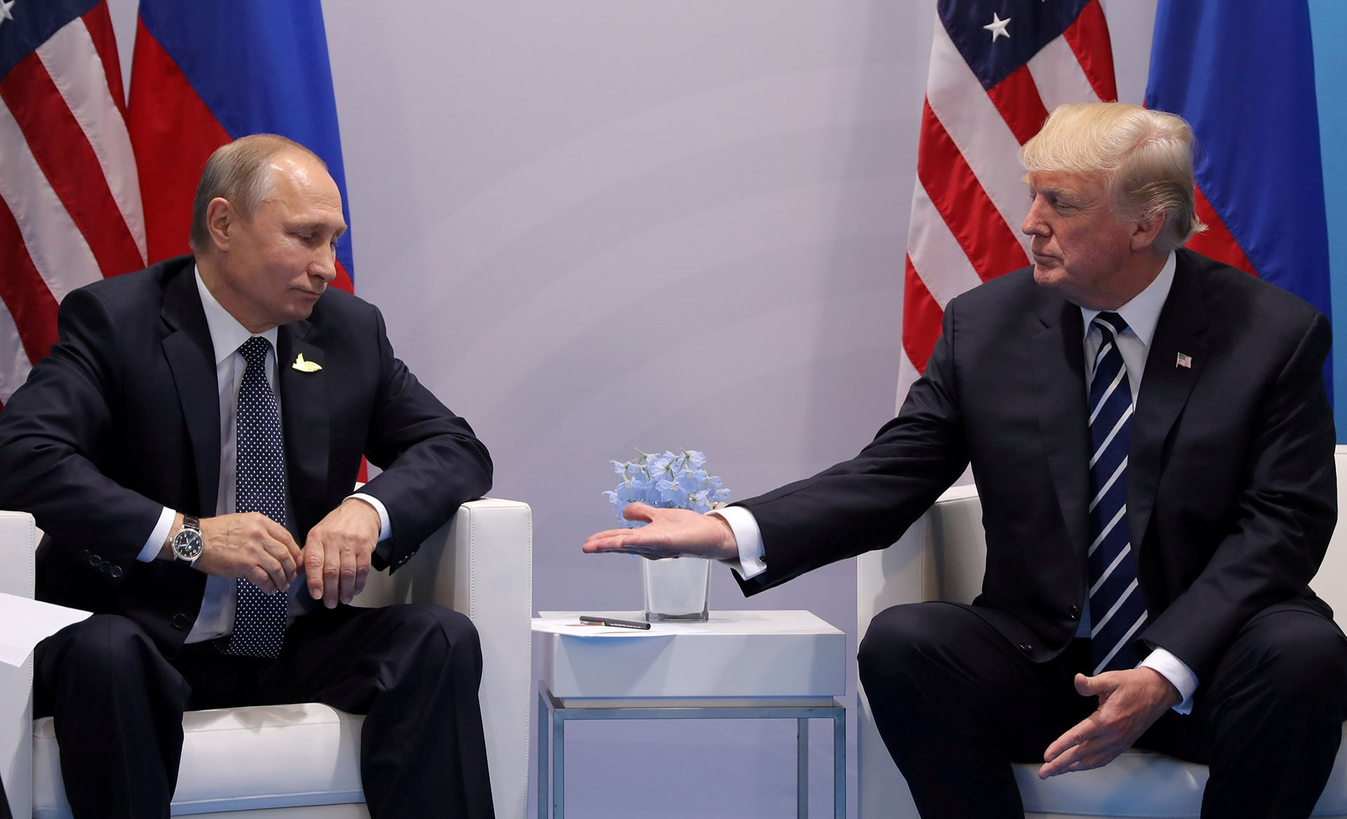 President Donald Trump meets with Russian President Vladimir Putin