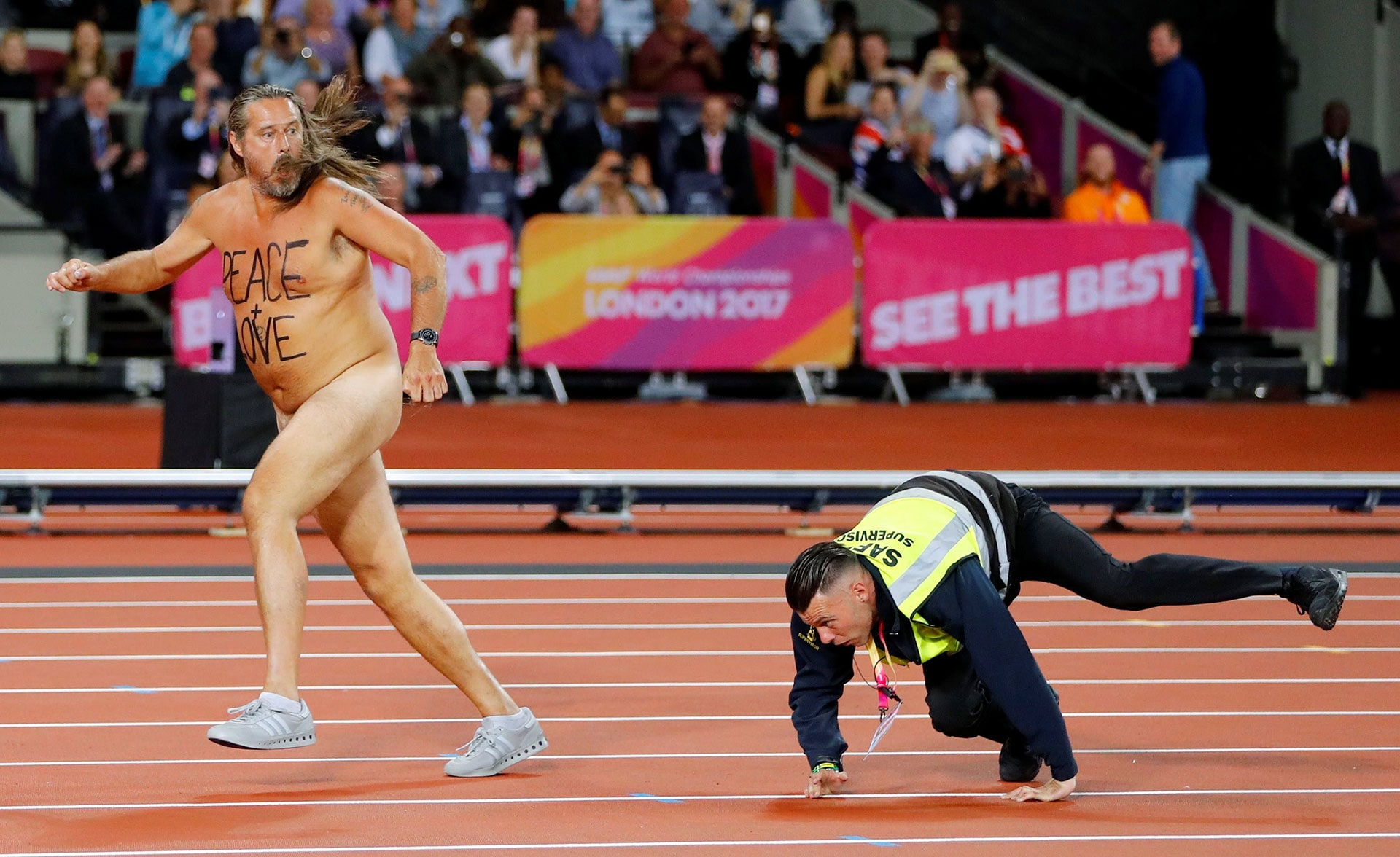 A streaker ran onto the track at the World Athletics Championships in London