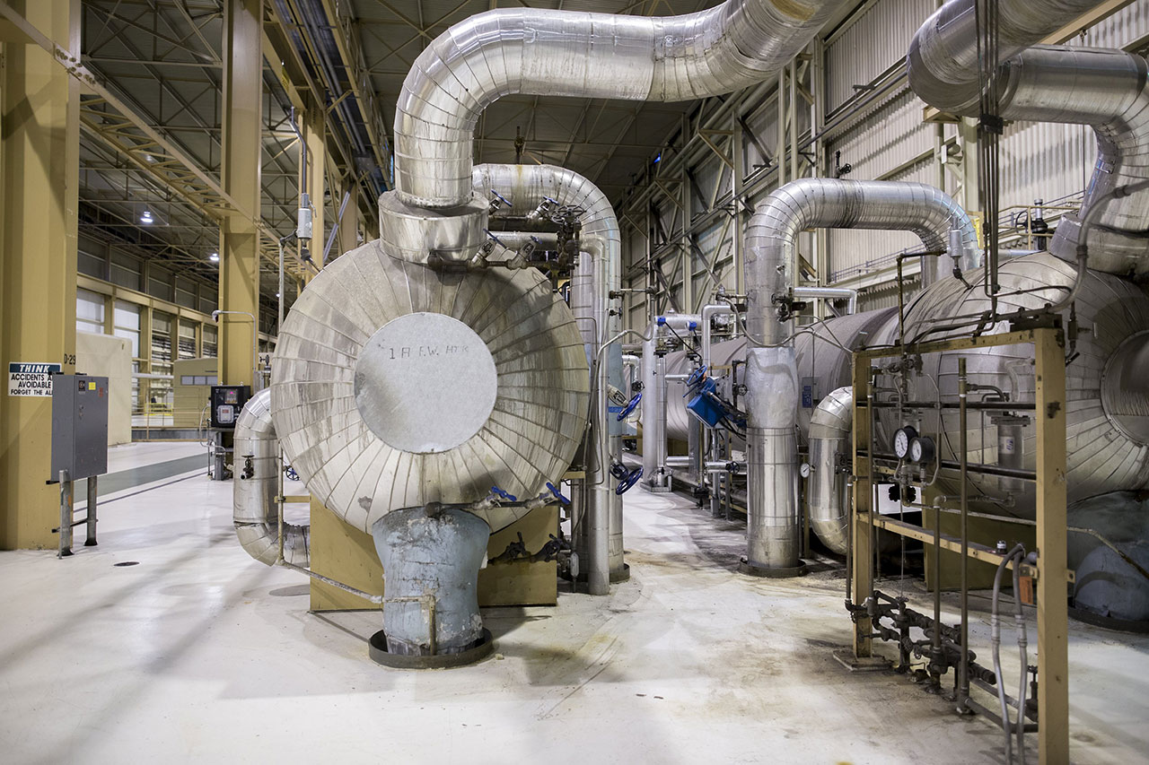 Inside the Navajo Generating Station, these heaters pre-heat water before it enters the coal-fired boiler.