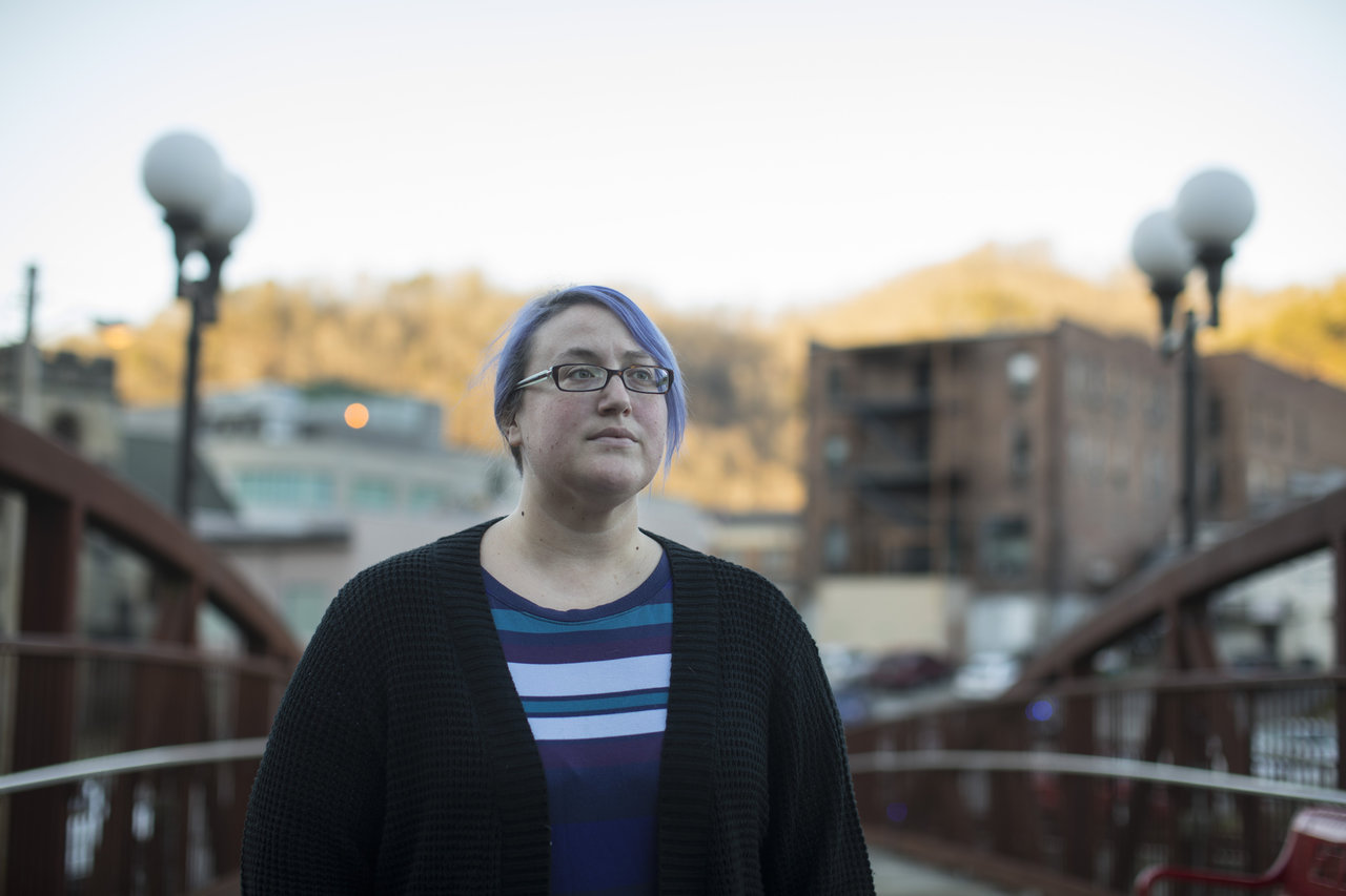 Elizabeth Sanders, a member of the anti-prison Letcher Governance Project, posed for a portrait