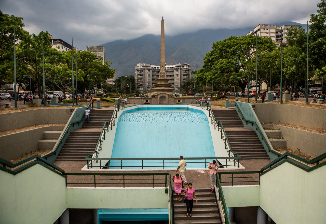 Francia Square in the Altamira neighborhood of Caracas became the center of mass protests last year.