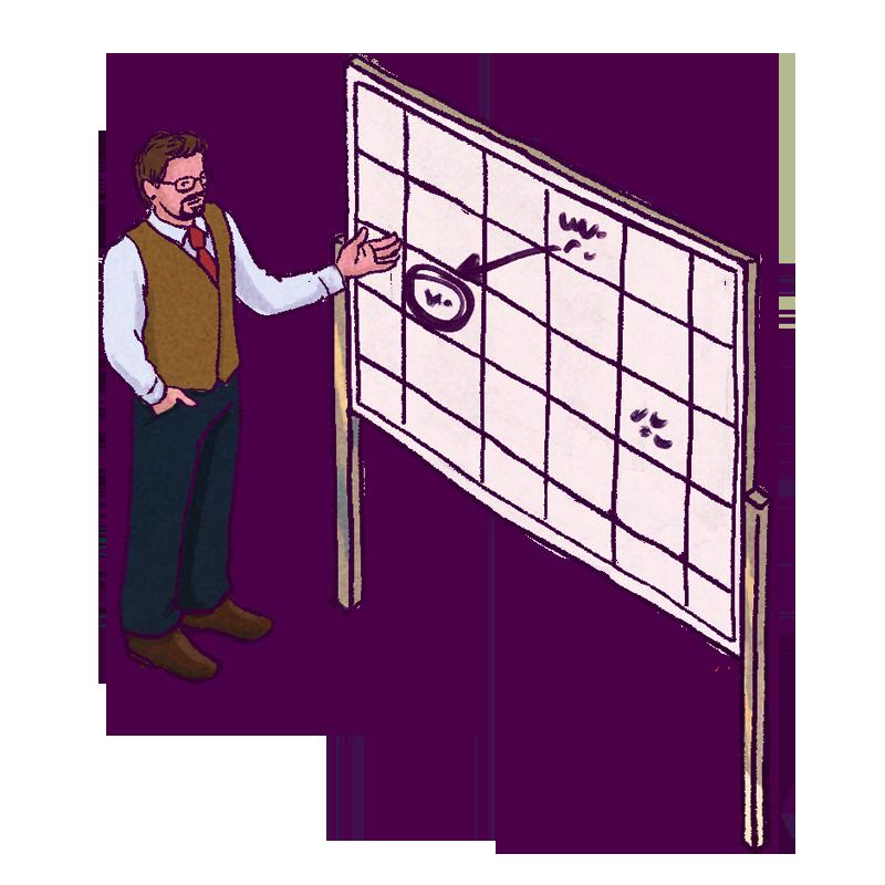 Employee at whiteboard