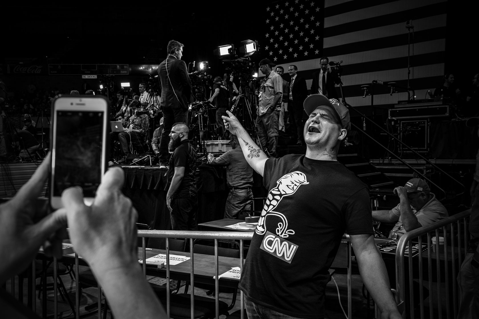 A Trump supporter attends his rally in Charleston, West Virginia.                         srcset=