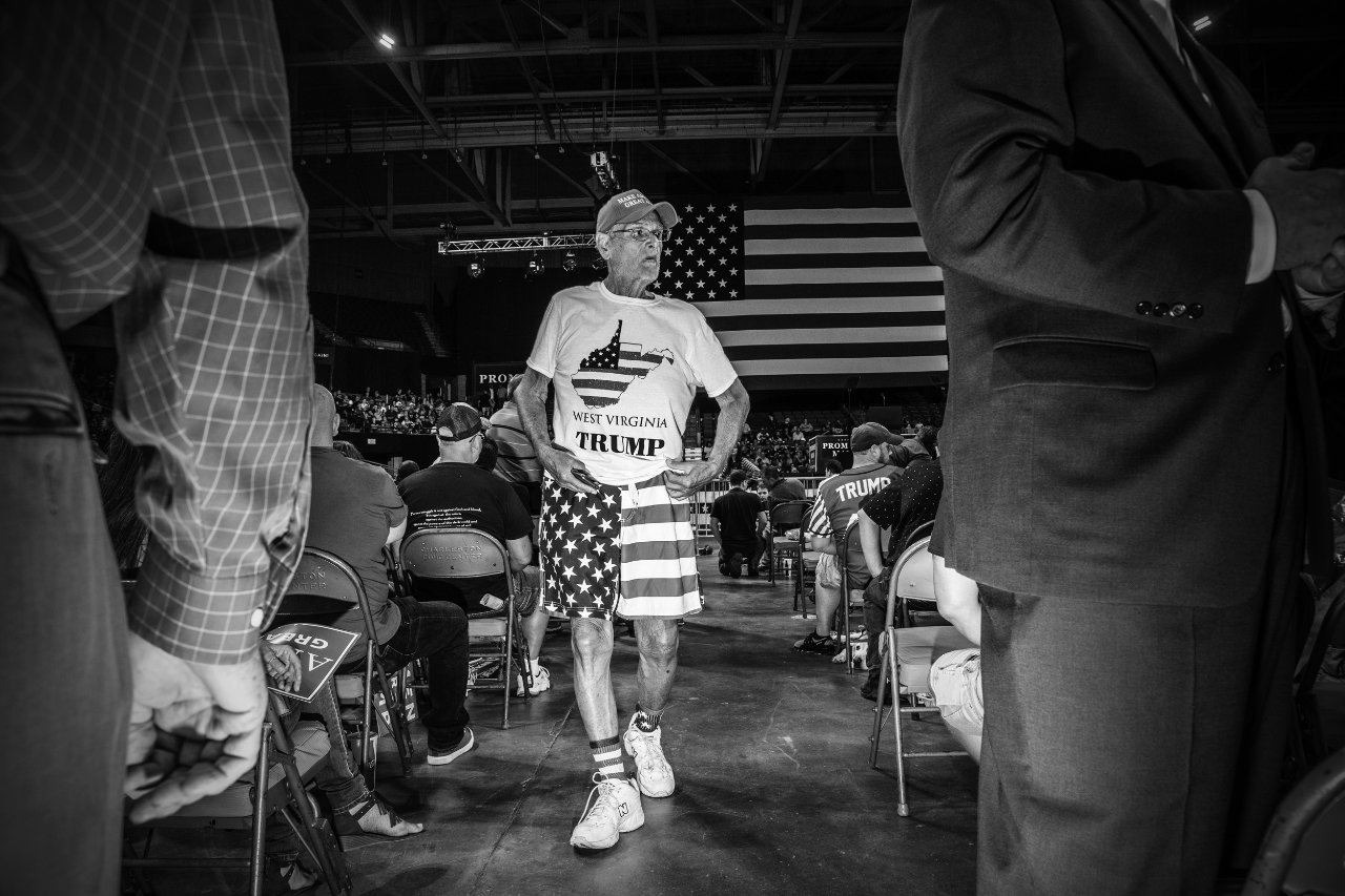 A Trump supporter attends the president's rally in Charleston, West Virginia.