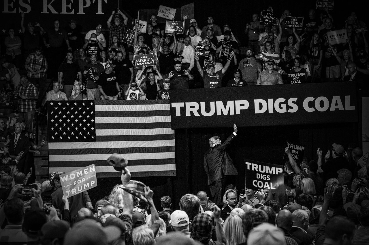 President Donald Trump waves to the crowd at his rally in Charleston, West Virginia.