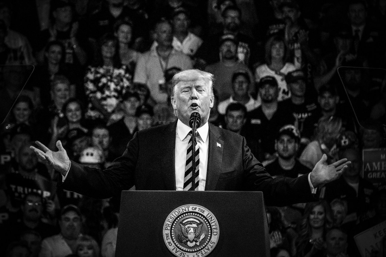 Trump addresses the crowd at a rally in Charleston, West Virginia.