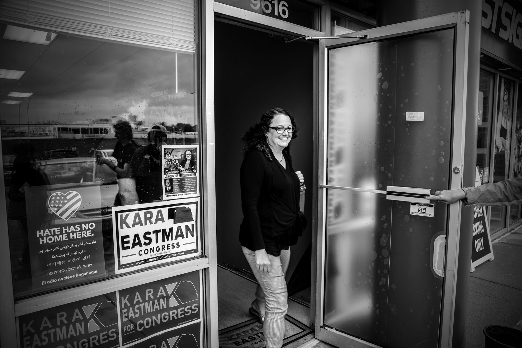 Kara Eastman walks out of her office in Omaha, Nebraska.                         srcset=