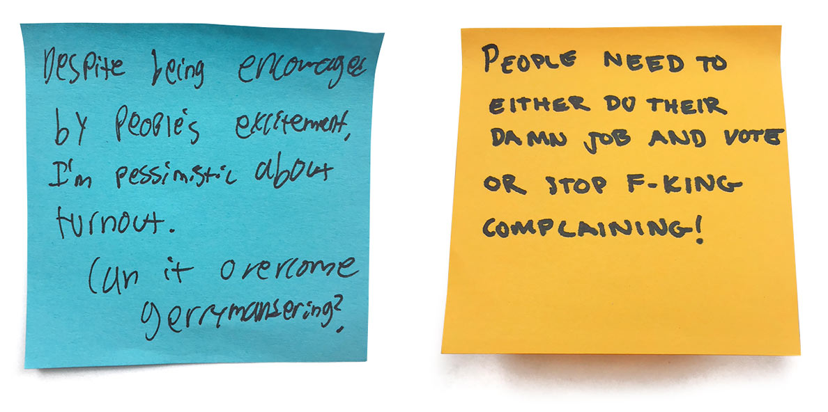 Political opinions written on Post-it notes