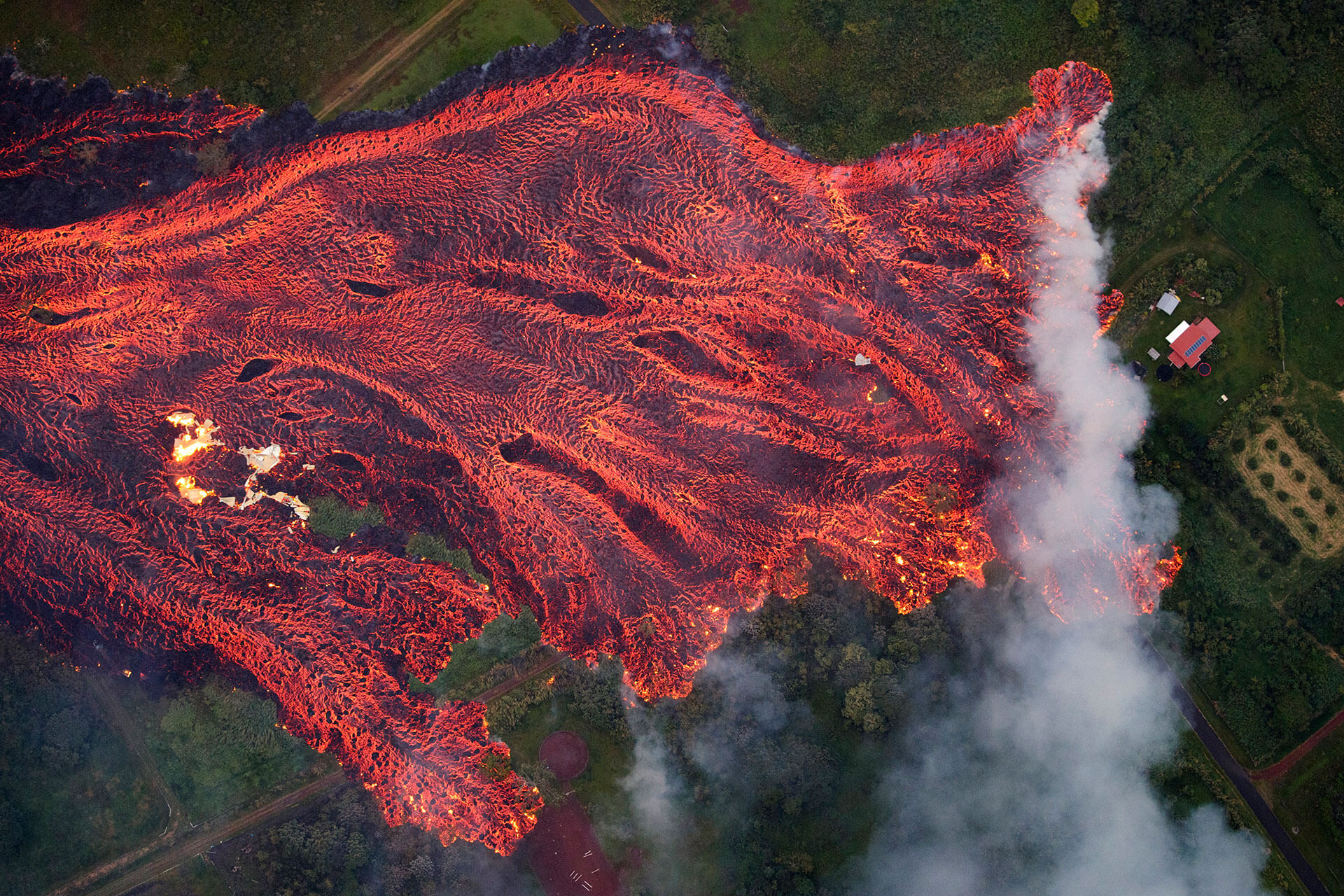 A fast-moving lava flow