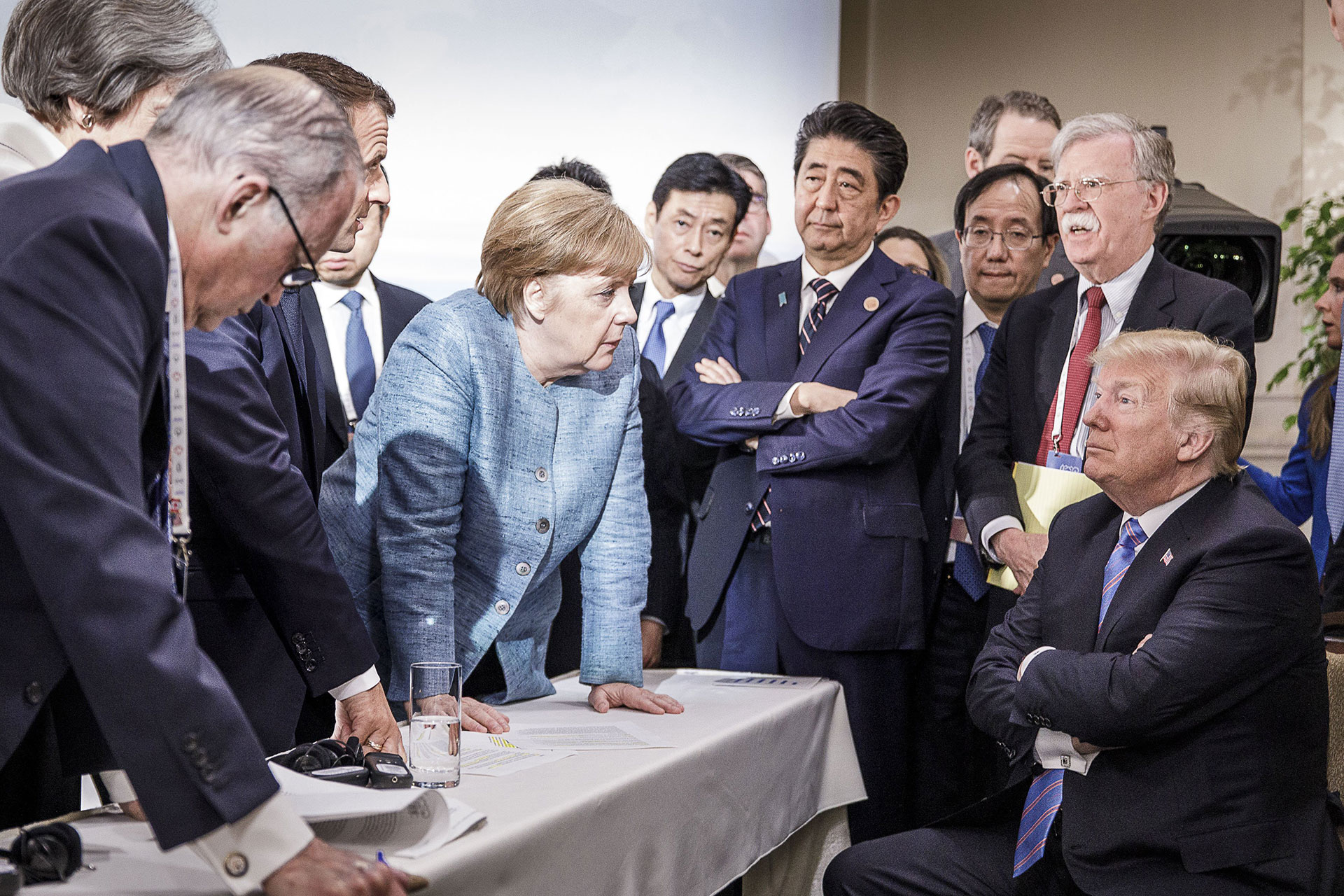 German Chancellor Angela Merkel with President Donald Trump during the G-7 summit