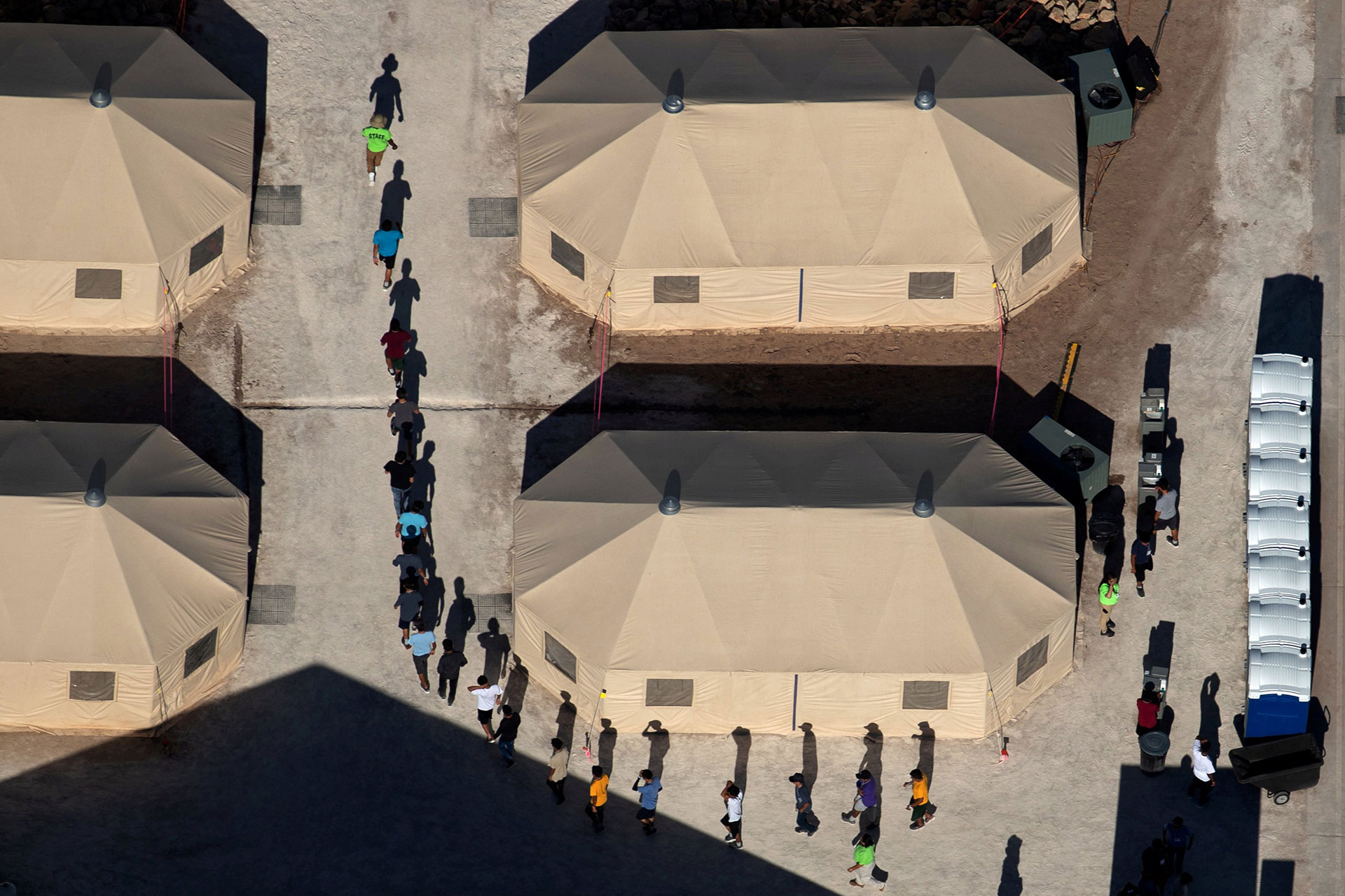 Immigrant children at a detention facility next to the Mexican border in Tornillo, Texas