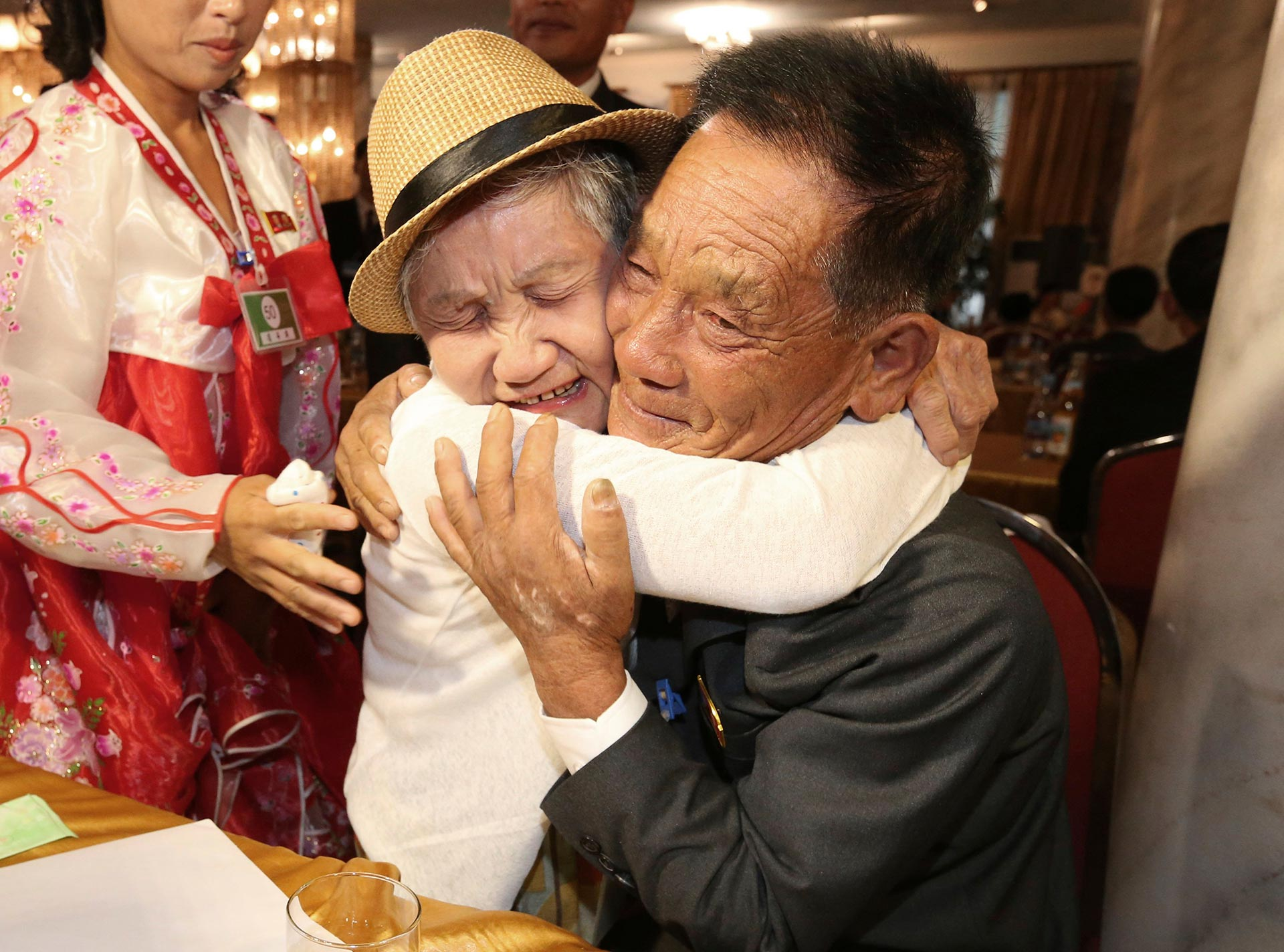 Lee Keum-seom, 92, from South Korea, weeps as she meets with her North Korean son