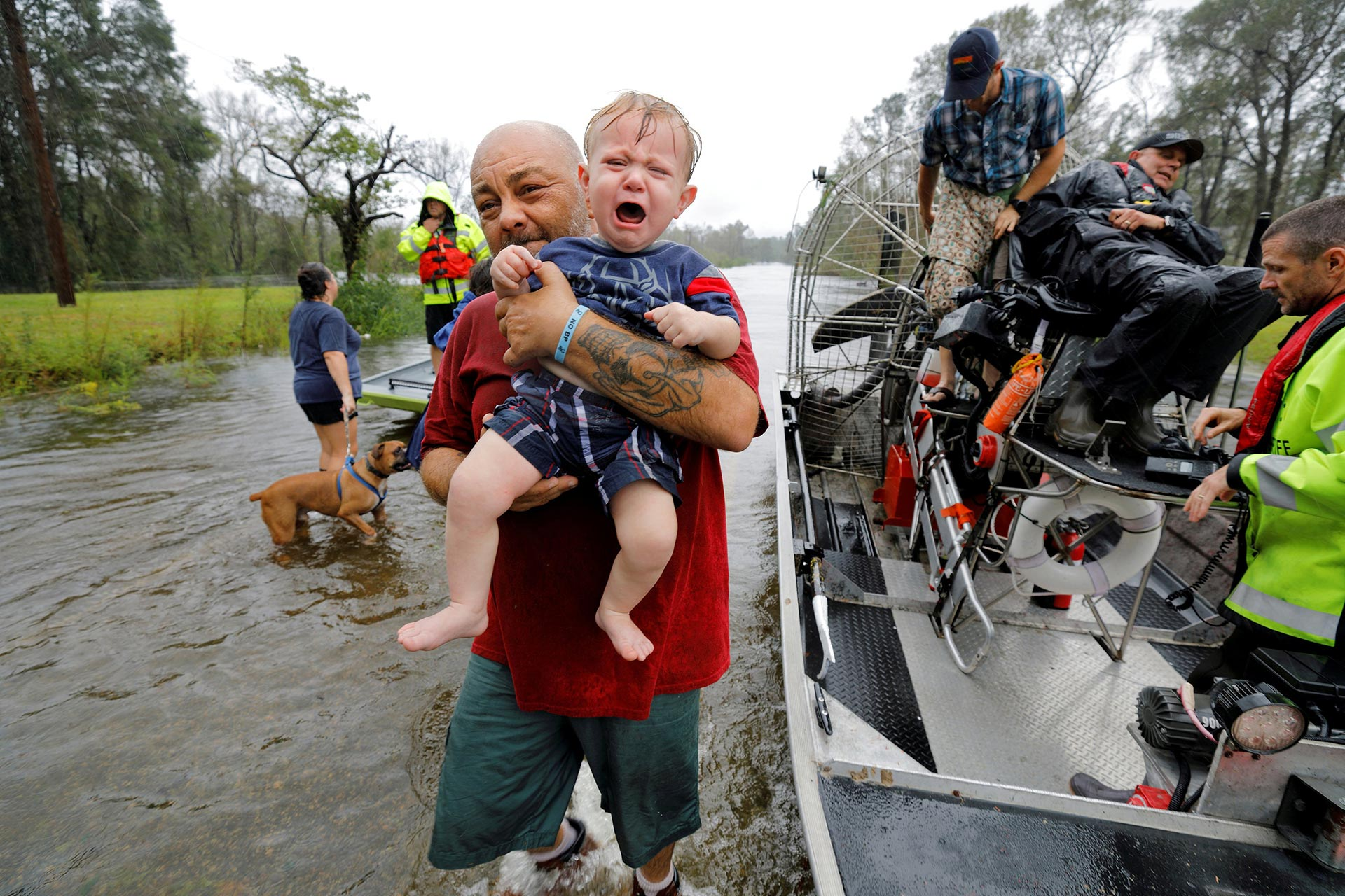 Rescue from rising floodwaters in the aftermath of Hurricane Florence