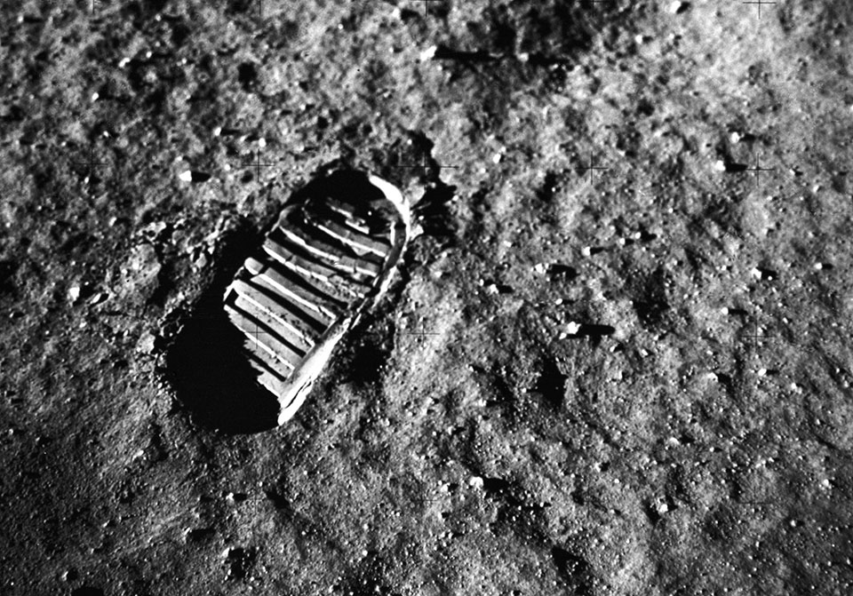 Neil Armstrong's footprint on the surface of the moon.