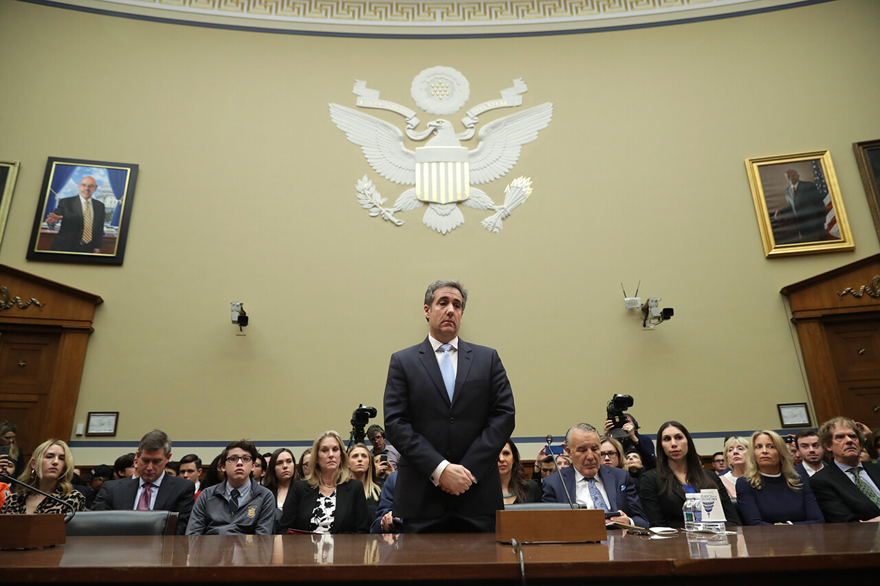 Michael Cohen, former attorney and fixer for President Donald Trump, prepares to testify before the House Oversight Committee on Capitol Hill on Feb. 27.