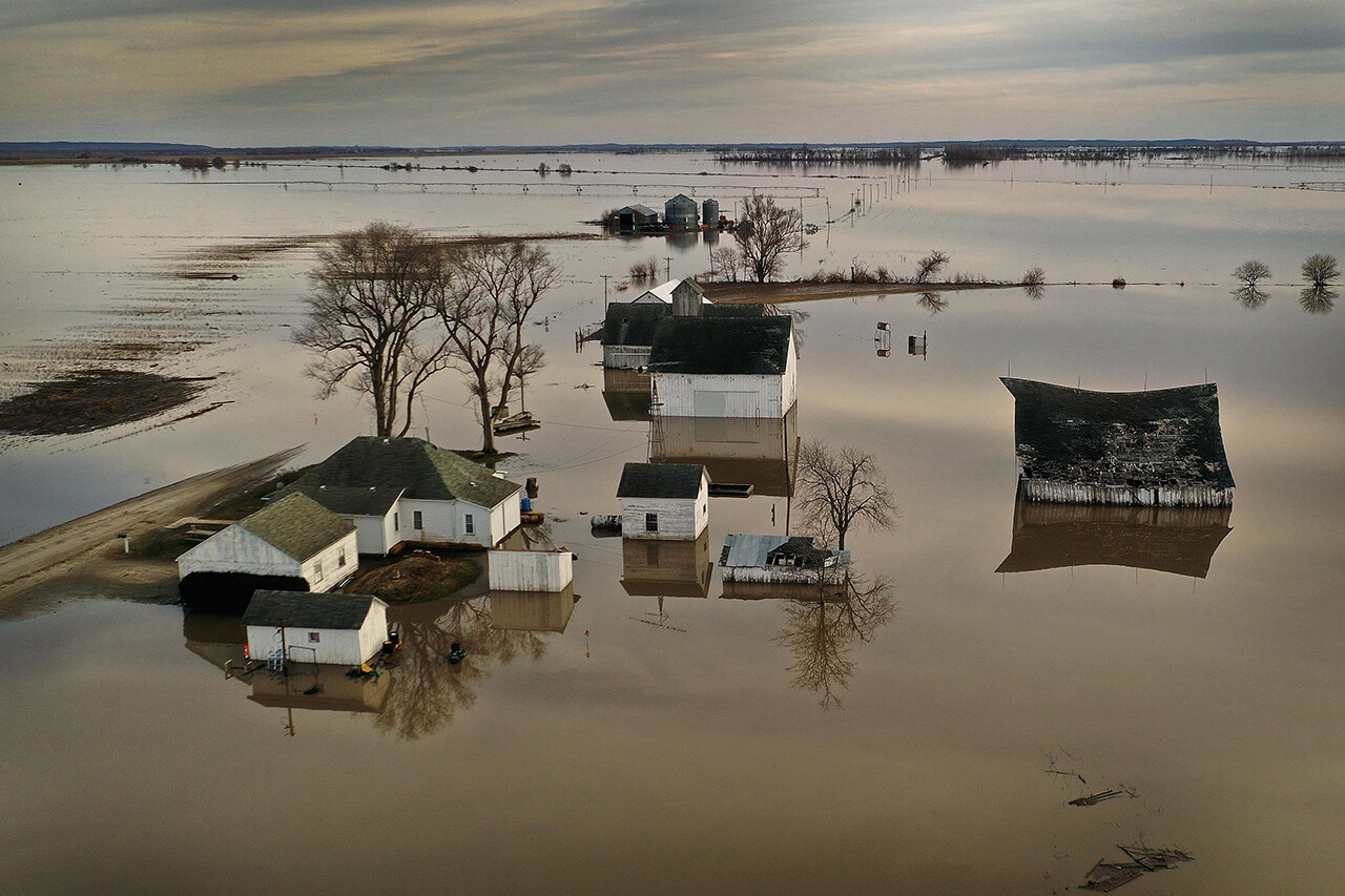 Floodwaters surround a farm near Craig, Mo., on March 22.