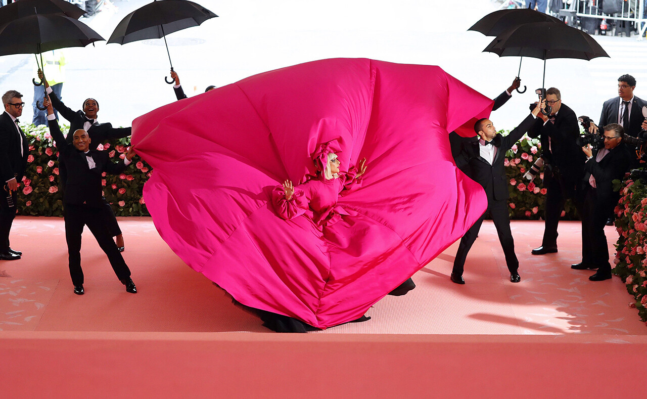 "Lady Gaga arrives, in spectacular fashion, at the Met Gala celebrating ""Camp: Notes on Fashion."""
