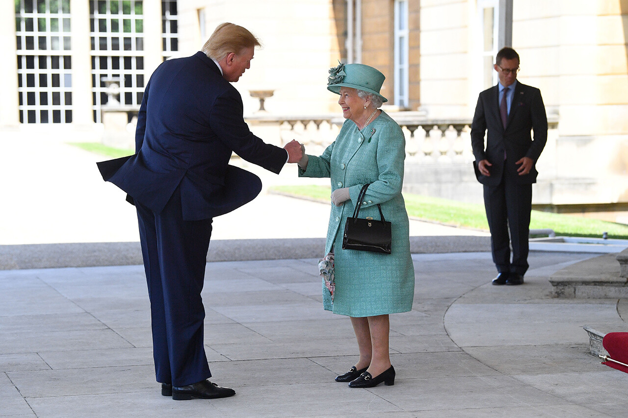 President  Trump is greeted by Queen Elizabeth II at Buckingham Palace on June 3.