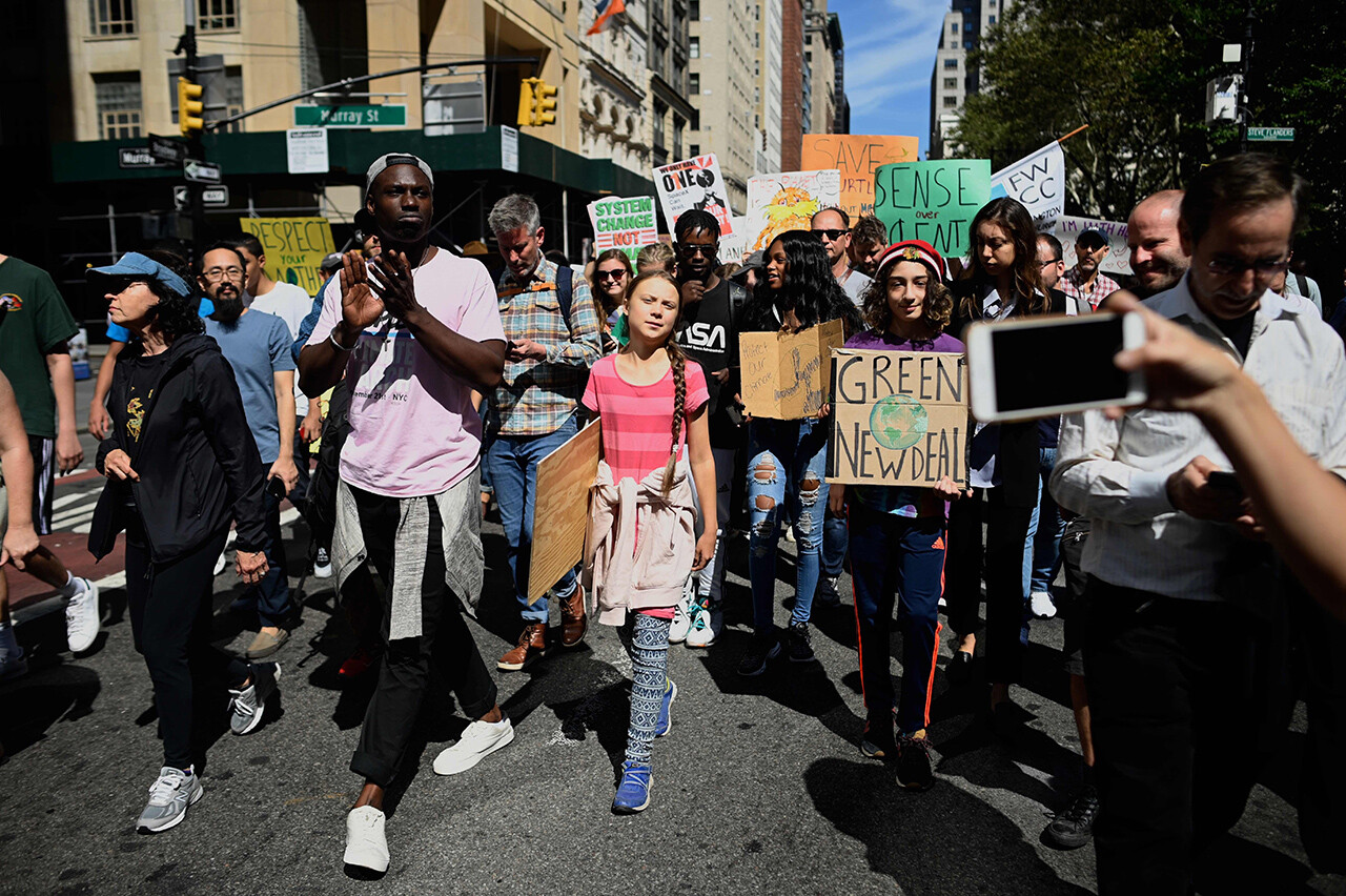 Swedish teen activist Greta Thunberg marches during the Global Climate Strike in New York.