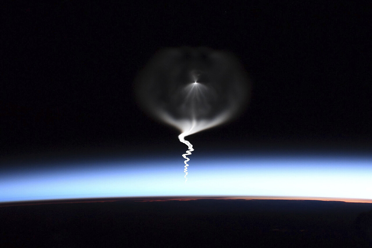 The launch of a Russian Soyuz rocket is seen from the International Space Station.
