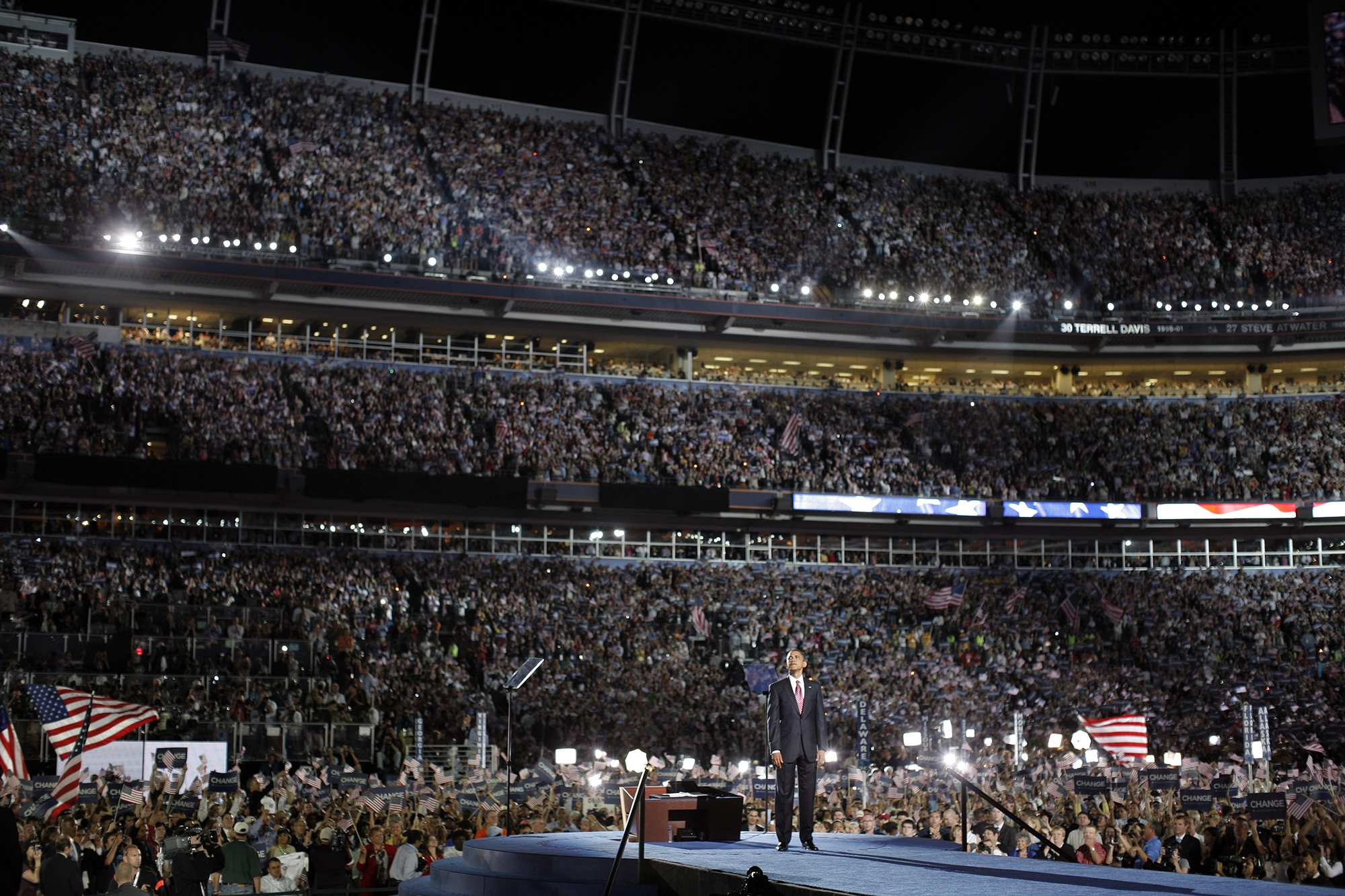 Democratic U.S. Presidential nominee Sen. Barack Obama on day four of the Democratic National Convention in 2008 in Denver. | <span>Charles Ommanney/Getty Images</span>