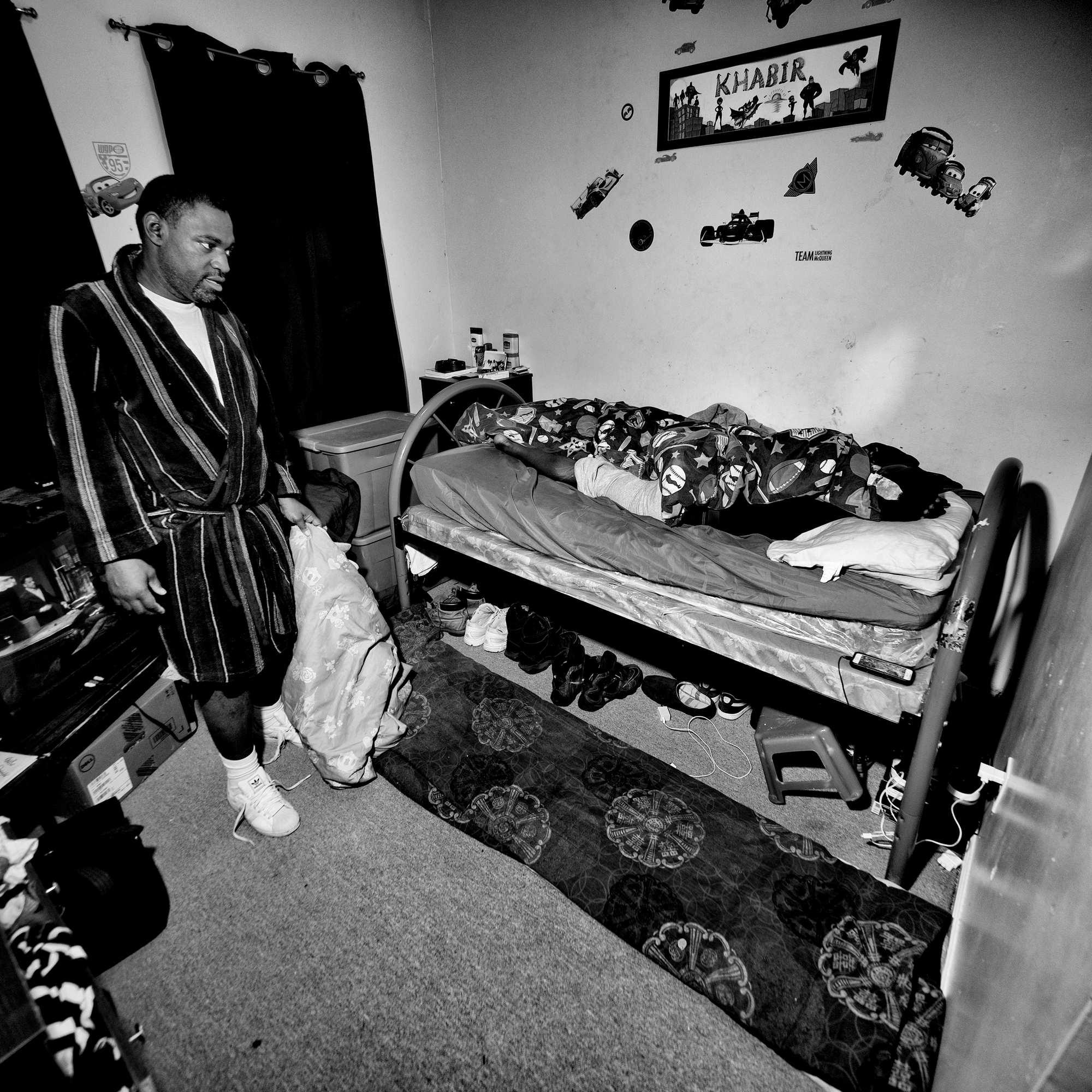 Ken Murray in his grandson's bedroom.