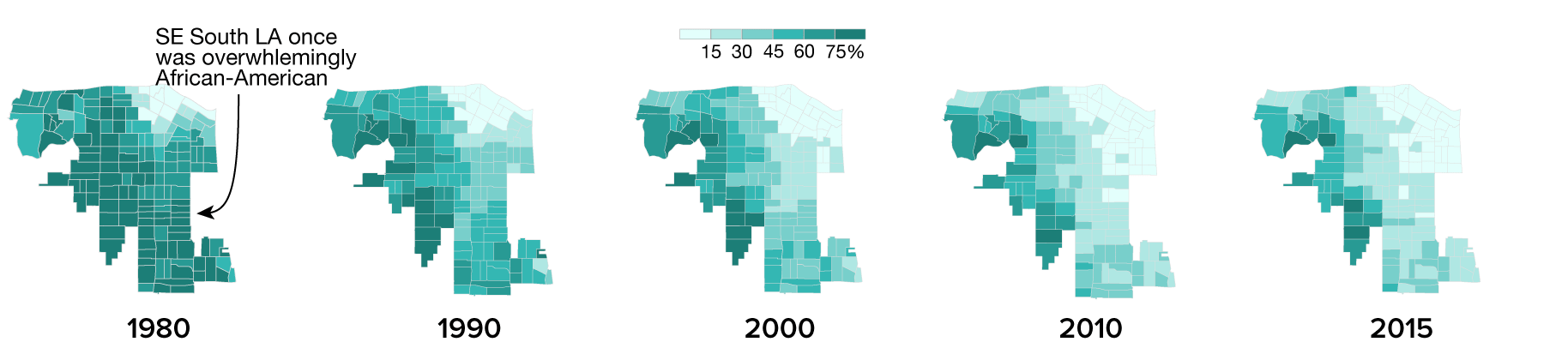 African-American Population in South LA 1980 - 2015