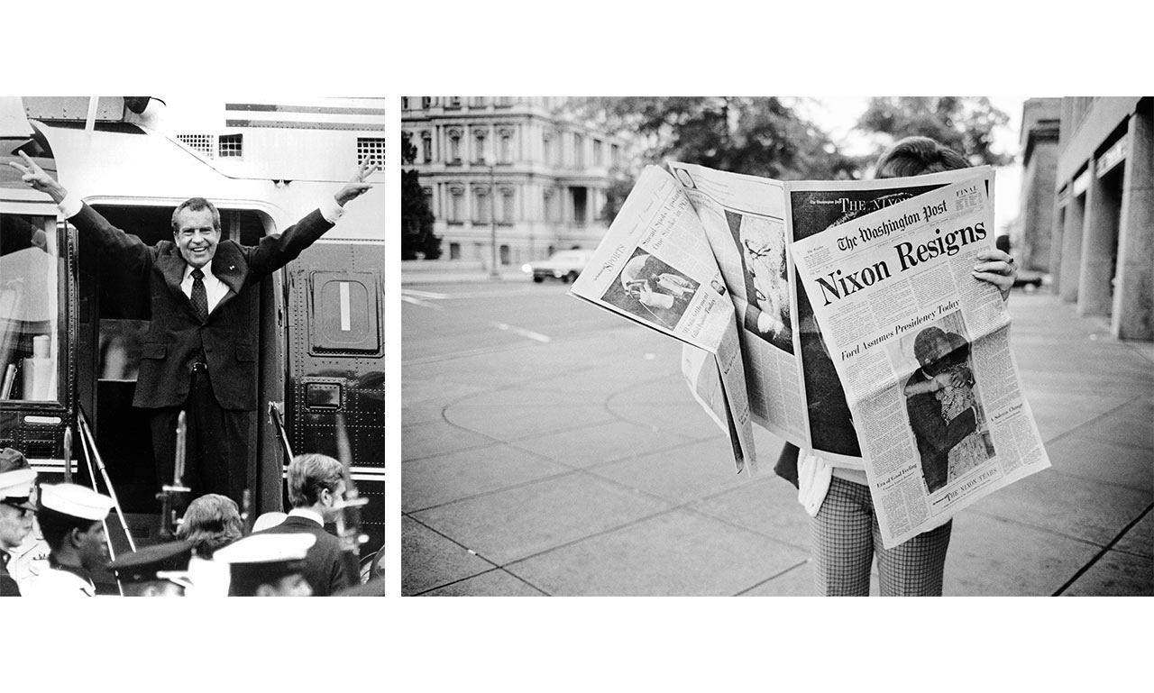 Republican Party morale plummeted in the wake of Richard Nixon's resignation over the Watergate scandal. | (left) Photo by Bob Daugherty/AP, (right) Alex Webb/Magnum