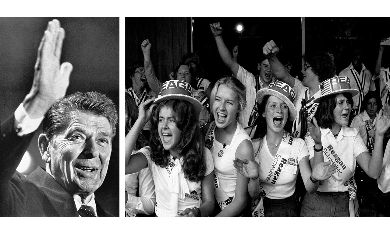 Reagan lost the GOP primary in 1976, but Reagan became the party's heir apparent. | (left) Photo by Bettmann/Getty, (right) Richard Kalvar/Magnum