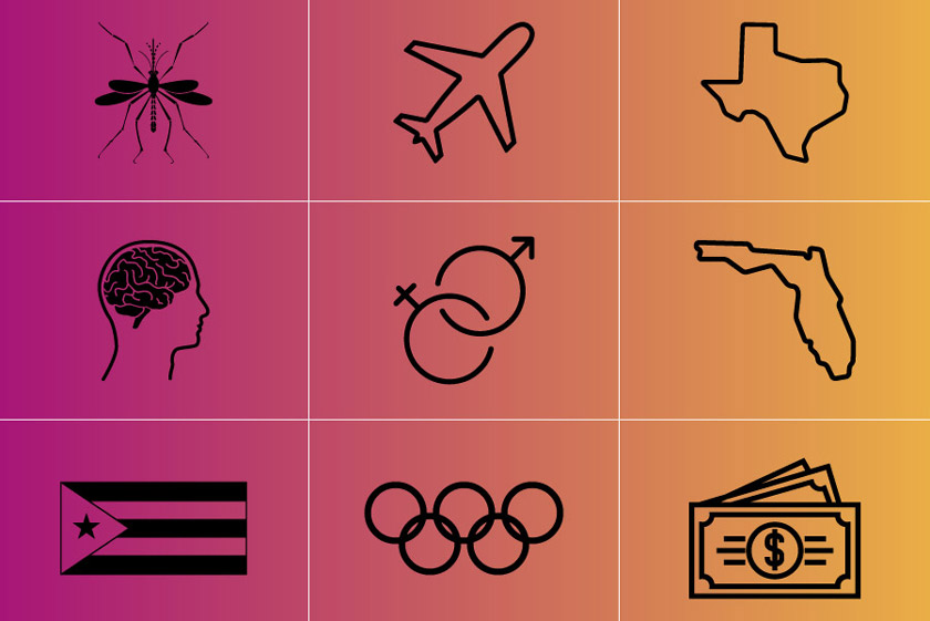 icons representing Zika's spread