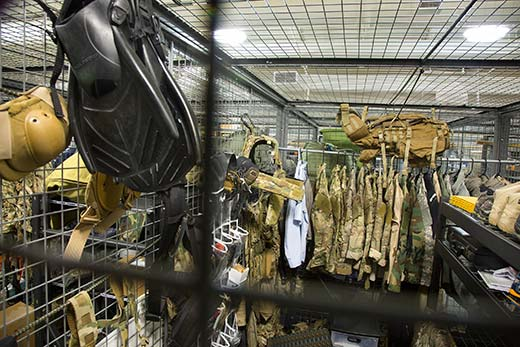 An Air Force special operations gear cage at Hurlburt Field holds personal equipment used on missions.